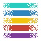 Set of color abstract pixel web banners with shadows for headers royalty free illustration
