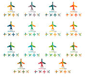 Set of color airplane logo icons Stock Photos