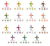 Set of color airplane logo icons Royalty Free Stock Image