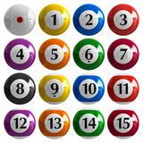 Set of color american billiard balls Stock Image