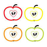 Set of color apples with heart shape. Isolate. Royalty Free Stock Photography