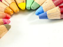 Set of color arranged as an arch. View of coloured pencil arranged to form a circle arch, like the rainbow Stock Photography