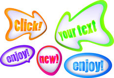 Set of color arrow bubble icons Royalty Free Stock Photography