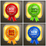 Set of color award labels on black Royalty Free Stock Photo