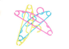 Set of color Baby clothes hangers on white background Stock Photos