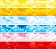 Set of color banners with bubbles. Red, pink, blue, orange and yellow backgrounds with  foam Stock Photography