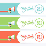 Set of color banners with male hand holding megaphone and Big Sale speech bubble. Stock Photo