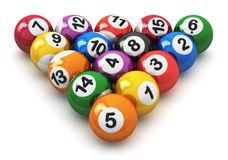 Set of color billiard balls. Set of color balls with numbers for american billiard game isolated on white background Stock Illustration