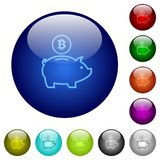 Color bitcoin piggy bank glass buttons. Set of color bitcoin piggy bank glass web buttons Royalty Free Stock Image