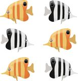 Set of color and black-and-white fish. Butterflies on a white background Stock Images