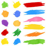 Set of color brushstrokes on white Stock Photo
