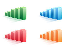 Set of color business bar graph. Isolated color business bar graph set on white background Royalty Free Stock Photos
