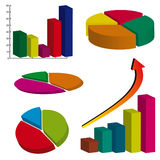 Set of color business charts Stock Images