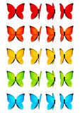 Set of color butterflies isolated on white Royalty Free Stock Photos