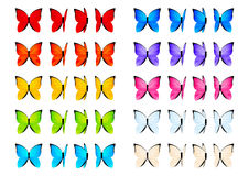 Set of color butterflies isolated Royalty Free Stock Image