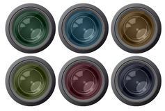 Set color camera lens Stock Image