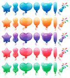 Set of color cartoon balloons and fireworks. Rainbow candy and glossy funny cartoon symbols. Collection of different. Set of color cartoon balloons and fireworks royalty free illustration
