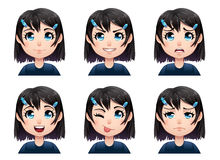 Set of color cartoon girl emotions avatars Stock Photography