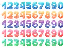 Set of color cartoon numbers. Rainbow candy and glossy funny cartoon symbols. Collection of different holiday symbols. Set of color cartoon numbers. Rainbow Royalty Free Stock Images