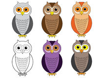 Cartoon owls Royalty Free Stock Photography
