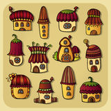 Set of color cartoon vector houses Royalty Free Stock Photo