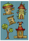 Set of color cartoon vector houses. Set of color cartoon fantasy vector houses Royalty Free Stock Photography