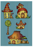 Set of color cartoon vector houses. Set of color cartoon fantasy vector houses Stock Image