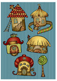 Set of color cartoon vector houses. Set of color cartoon fantasy vector houses Stock Images