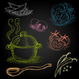 Set of color chalk drawn on a blackboard food Stock Photo