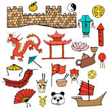 Set color Chinese characters  signs hand drawn Royalty Free Stock Photo