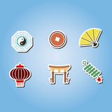 Set of color with chinese New year icons Stock Images