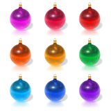Set of color Christmas balls. Isolated over white background Royalty Free Stock Photo