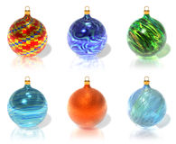 Set of color Christmas balls. Set of various color textured Christmas balls isolated over white background Stock Photo