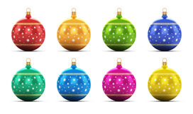 Set of color Christmas balls. Creative abstract New Year 2014 and Xmas celebration concept: set of color shiny metallic glass Christmas balls with colorful star Royalty Free Stock Images