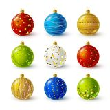 Set of color Christmas balls. With golden decorations stock illustration
