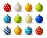 Set of color Christmas balls Royalty Free Stock Photos