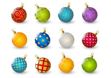 Set of color Christmas balls Stock Images