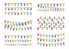 Set of color Christmas light bulbs vector illustration
