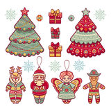 Set of color Christmas toys. Royalty Free Stock Photography