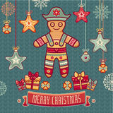 Set of color Christmas toys. Gingerbread Man. Royalty Free Stock Photos
