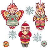 Set of color Christmas toys. Holiday decorations. Template for design Royalty Free Stock Photos