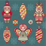 Set of color Christmas toys. Holiday decorations. Royalty Free Stock Photos