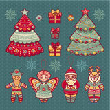 Set of color Christmas toys. Holiday decorations. Royalty Free Stock Images