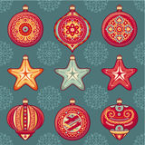 Set of color Christmas toys. Holiday decorations. Template for design. Winter. New Year decoration. Cut the paper. Eps. Pattern toy. Christmas balls. Santa Royalty Free Stock Image
