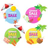 Set of color circle summer fashion sale banners. Stickers, badges, labels and tags design templates. Vector illustration vector illustration