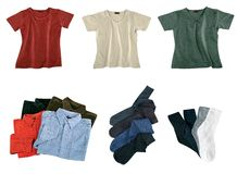 Set of color clothes. Isolated on white Royalty Free Stock Photo
