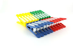 Set of color clothes-pegs Royalty Free Stock Photos