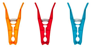 Set of color clothes pegs Stock Photos