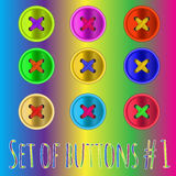 Set of 9 color clothing buttons. Sewing buttons set for patchwork Stock Image