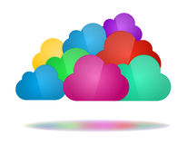 Set of color clouds - Cloud computing concept. Cloud computing concept. Set of color clouds with shadow in bottom isolated on white background stock illustration